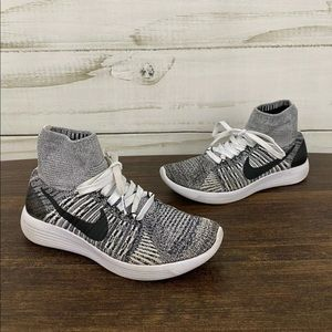 Nike Lunarepic Flyknit Ankle Gray White Sneakers